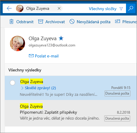 Vyhledání osoby a zobrazení všech jejích e-mailových zpráv