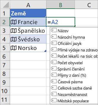 """Buňka A2 obsahuje text """"Francie""""; Buňka B2 obsahuje text =A2. a objeví se nabídka automatického dokončování vzorce s poli z propojeného záznamu."""