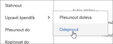 Zvýrazněte soubor s upravit kód pin a Odepnout zvýrazněným