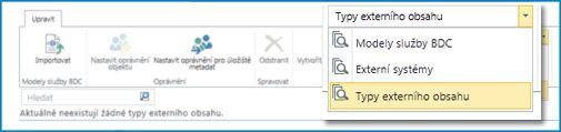 Snímek obrazovky s výběrem zobrazení z katalogu zobrazení služby BCS