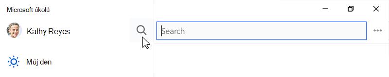 Snímek obrazovky ukazující na ikonu Hledat vybraná a do vyhledávacího pole, otevřít