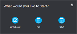 Go to More on the Present menu to add a whiteboard, poll, or Q&A manager window
