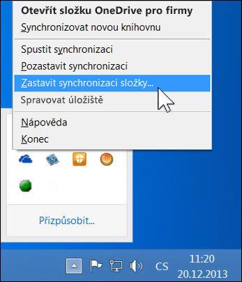 Zastavení synchronizace OneDrivu pro firmy