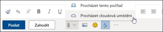 Snímek obrazovky s nabídkou Připojit a vybranou možností Umístění v cloudu