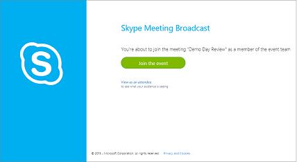 Obrazovka pro připojení k zabezpečenému vysílání skypové schůzky
