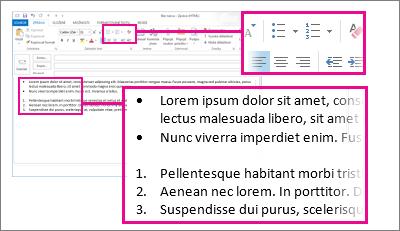 Příklady číselných seznamů a seznamů s odrážkami ve zprávě