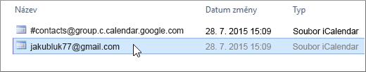 Vyberte soubor končící na gmail.com, který chcete importovat.