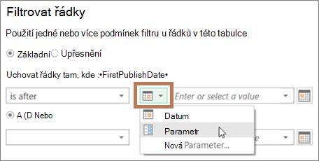 Zadání parametru v dialogovém okně Filtr