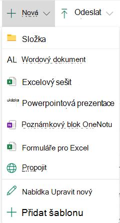 Pokud chcete vytvořit nový soubor v knihovně dokumentů, otevřete nabídku nový a vyberte požadovaný typ souboru.