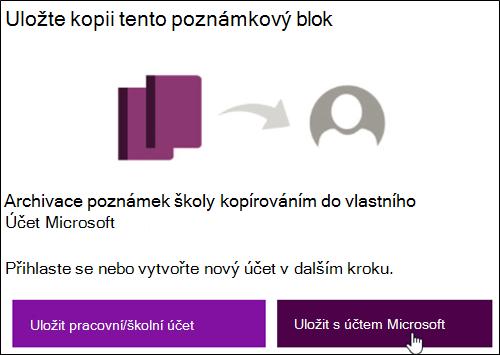 Uložení na účet Microsoft