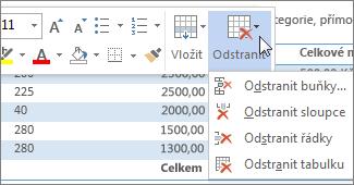 Minipanel nástrojů zobrazující nabídku Odstranit