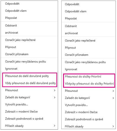 Možnosti Přesunout do Prioritní a Přesunout do kategorie Další v Outlooku na webu