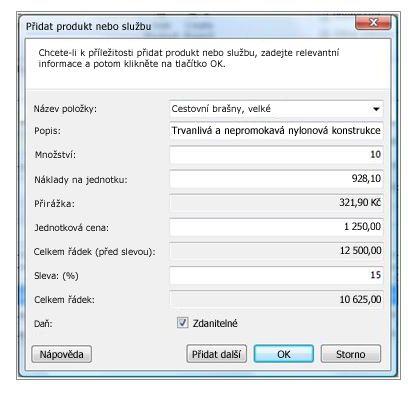 Dialogové okno Přidat produkt nebo službu