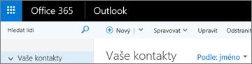 Jak pás karet vypadá v Outlooku na webu.