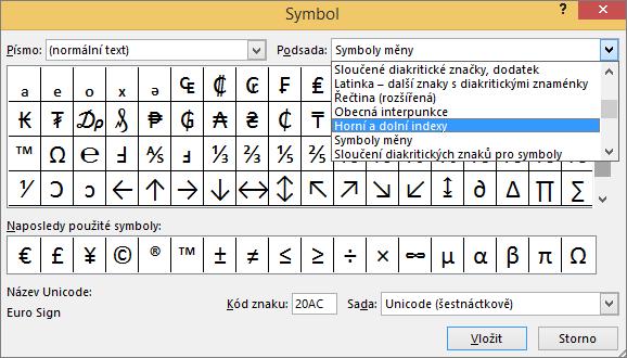 Zobrazuje podsady dolního a horního indexu v dialogu Symbol v PowerPointu.
