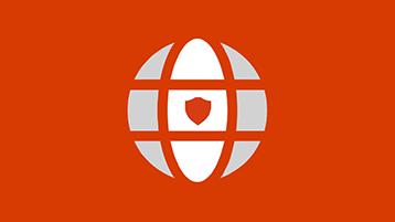 Symbol zeměkoule se štítem na oranžovém pozadí