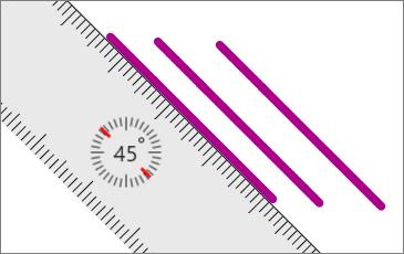 Pravítko zobrazené na stránce OneNotu se třemi nakreslenými rovnoběžnými čárami