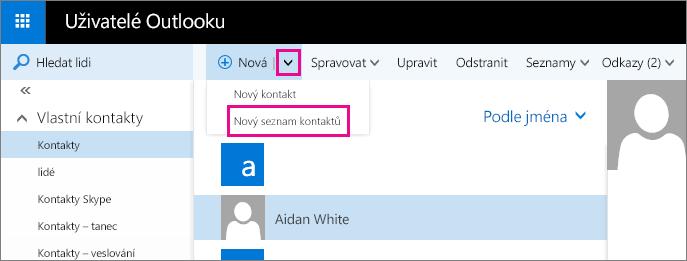 Snímek obrazovky s částí panelu nástrojů na stránce Lidé v Outlooku Snímek obrazovky znázorňující možnost Nový seznam kontaktů v rozevírací nabídce Nový