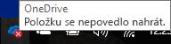 Ikona červeného křížku, kdy nejde nahrávat na OneDrive