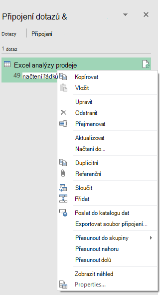 Power Query > Export na možnosti