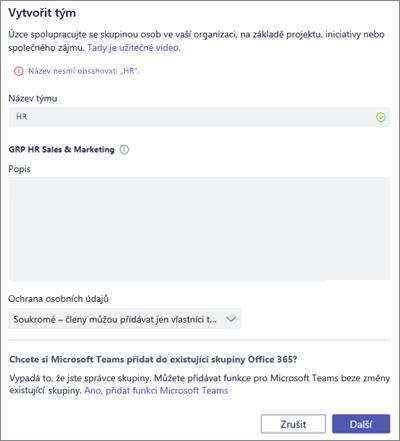 Snímek obrazovky: Naming zásad skupiny v Microsoft Teams blokované příklad