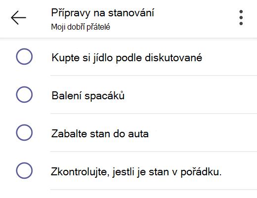 Sdílený seznam úkolů v Teams pro osobní použití.