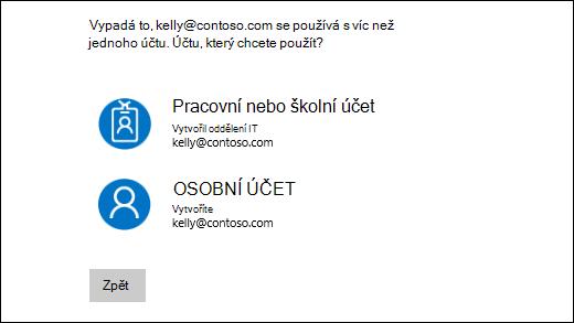 Přihlašovací obrazovka s dvěma e-mailové adresy