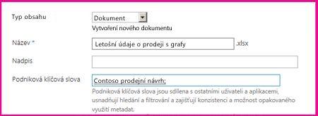 Uživatelé můžou přidat klíčová slova v dialogovém okně Vlastnosti dokumentu.