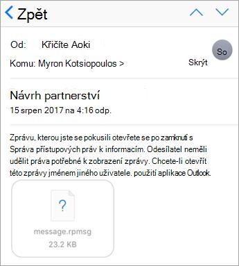 V e-mailové aplikaci pro iOS se nedají zobrazit chráněné zprávy, pokud je správce nepovolil.