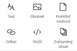 Snímek obrazovky s nabídkou webové části na SharePointu