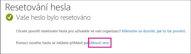 Snímek obrazovky s odkazem na přihlášení při zadání nového hesla