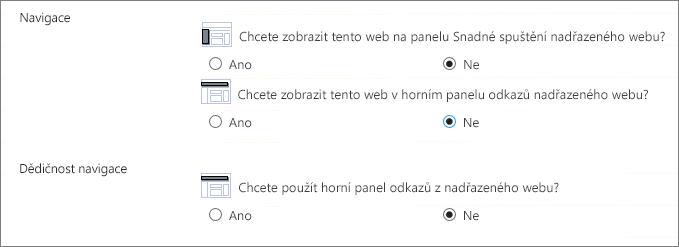 Kliknutím na Ne skryjete navigaci na podřízený web.