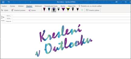 E-mailová zpráva v Outlooku s rukopisem s třpytivým efektem