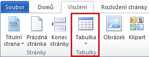 Table command on the Insert tab