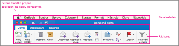 Řádek nabídek v Outlooku 2016 pro Mac