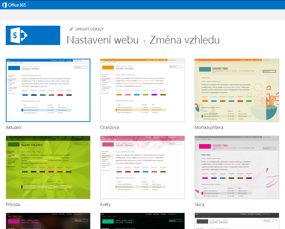 Volba motivů vzhledu dostupných na webech publikování SharePointu Online