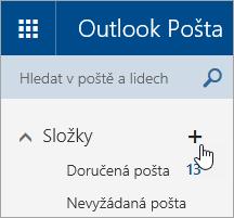 Snímek obrazovky s tlačítkem Vytvořit novou složku ve službě Outlook.com