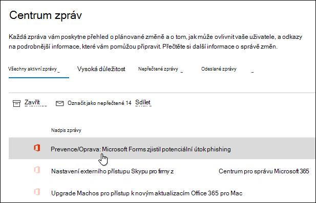 Zpráva v centru pro správu Microsoft 365 o nástroji Microsoft Forms phishing Detection