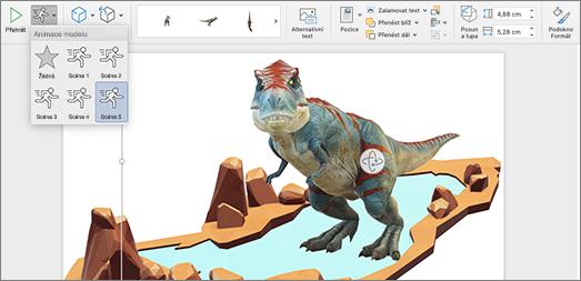 3D model se zobrazenými možnostmi animace