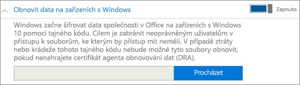 Přechod k certifikátu DRA (Data Recovery Agent)