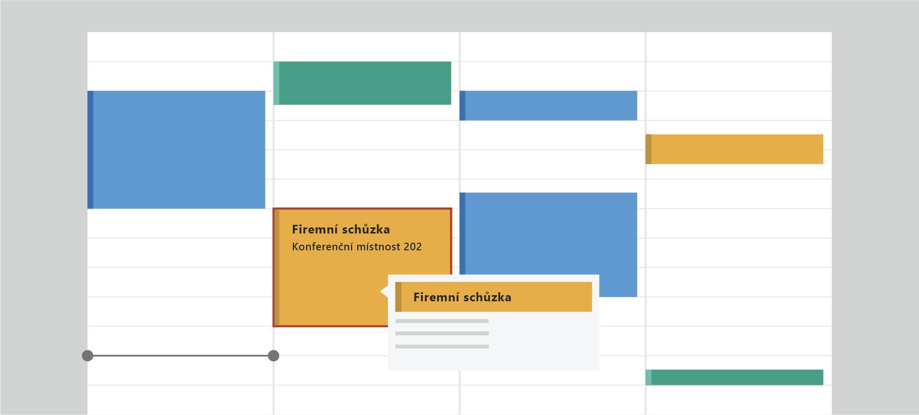 Zobrazuje Outlook Kalendář.