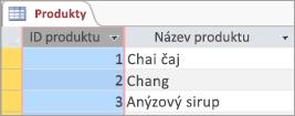 Obrazovka úryvek z tabulky produkty