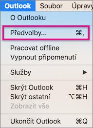 V nabídce Outlooku klikněte na Předvolby
