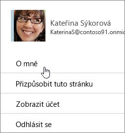 Dialogové okno profilu se zvýrazněným o mně.