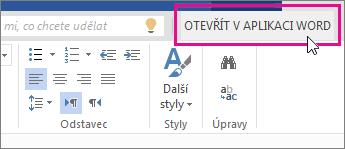 Otevřít ve Wordu ze zobrazení pro úpravy ve Wordu Online