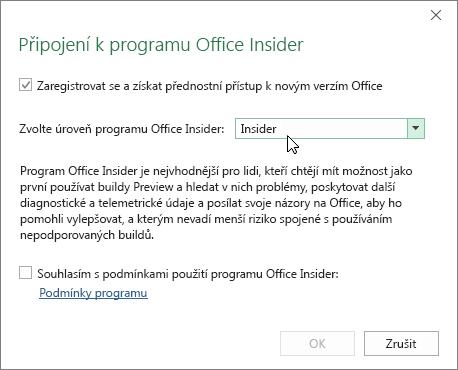 Dialogové okno pro zapojení se do programu Office Insider s možností výběru úrovně Insider