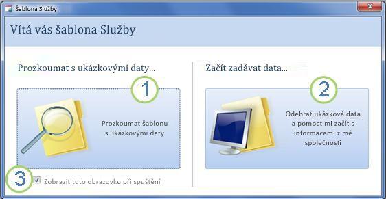 Spouštěcí formulář šablony webové databáze Služby