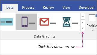 Karta Data, tlačítko Galerie datových symbolů