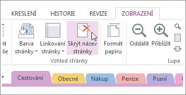 Zobrazení nebo skrytí názvu stránky kliknutím na tlačítko Skrýt název stránky