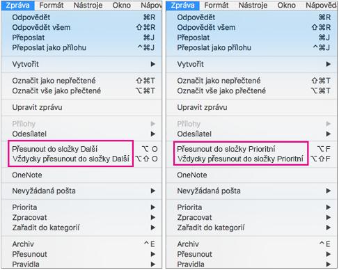 V nabídce Přesunout do složky Prioritní jsou dvě možnosti: Přesunout do složky Prioritní a Vždycky přesouvat do složky Prioritní.